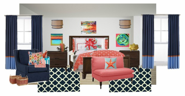 OB-coral & navy bedroom